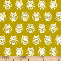 Papillon Owls Light Green Fabric