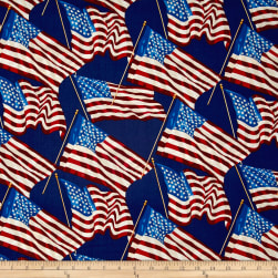 Patriotic 2017 Stars and Stripes Blue Fabric