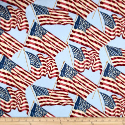 Patriotic 2017 Stars and Stripes Light Blue Fabric