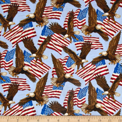 Patriotic 2017 Eagle Light Bue Fabric