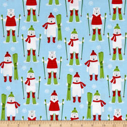Kaufman Frosty Friends Skiers Sky Fabric