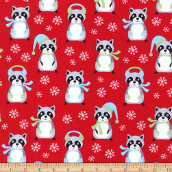 Kaufman Frosty Friends Raccoons Holiday