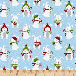 Kaufman Frosty Friends Rabbits Sky Fabric