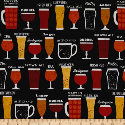 Kaufman Cheers Drinks Black Fabric