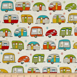 Kaufman On The Road Metallic Campers Ivory Fabric