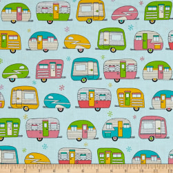 Kaufman On The Road Metallic Campers Aqua Fabric
