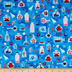 Kaufman Seaside Treasures Collage Blue Fabric