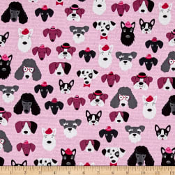 Kaufman Classy Canines Dog Faces Pink