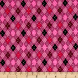 Kaufman Classy Canines Argyle Pink Fabric