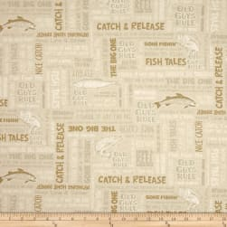 Kaufman Old Guys Rule Words Natural Fabric