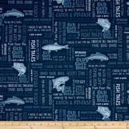 Kaufman Old Guys Rule Words Denim Fabric