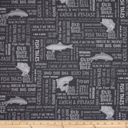 Kaufman Old Guys Rule Words Charcoal Fabric
