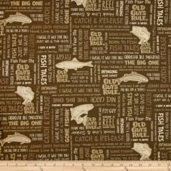 Kaufman Old Guys Rule Words Khaki Fabric