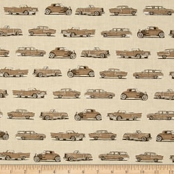 Kaufman Old Guys Rule Cars Natural Fabric