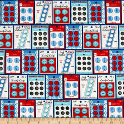 Kaufman Gran's Sewing Basket Buttons Blue Fabric