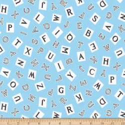 Kaufman My ABC Book Alphabet Blue Fabric