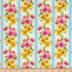 Kaufman Garden Splendor Flower Stripe Blue Fabric