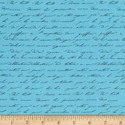 Kaufman Garden Splendor Words Blue Fabric