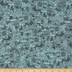 Kaufman Friedlander Lawn Collage Aqua Fabric