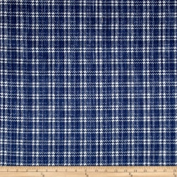 Kaufman Cotton Boucle Prints Plaid Indigo Fabric