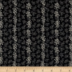 Kaufman Sevenberry Petite Garden Flower Stripe Charcoal