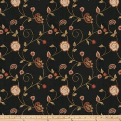 Fabricut Alamak Embroidered Shantung Black Fabric