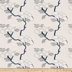 Mount Vernon Asian Floral Linen Porcelain Fabric