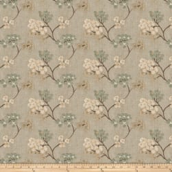 Fabricut Ballan Embroidered Faux Linen Sea Mist Fabric