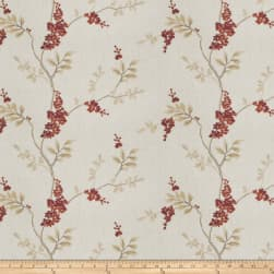 Fabricut Brookdale Embroidered Linen Garnet Fabric