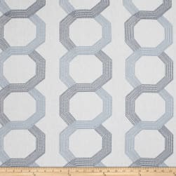 Fabricut Corner Shop Embroidered Linen Blend Navy Fabric