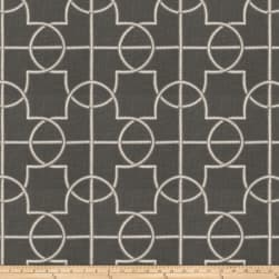 Fabricut Farina Embroidered Faux Linen Graphite Fabric