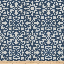 Fabricut Muffuletta Embroidered Flourish Nautical Fabric