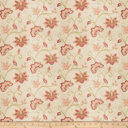 Charlotte Moss Ripoli Embroidered Linen Coral Fabric