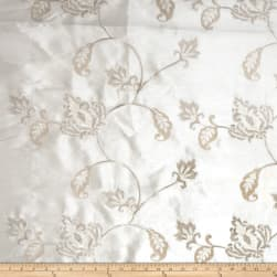 Fabricut Subra Embroidered Dupioni Off White Fabric