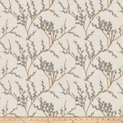 Fabricut Zaria Embroidered Faux Linen Lagoon Fabric