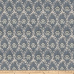 Vern Yip 03374 Jacquard Feathers Blue Fabric