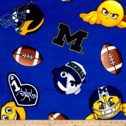 Collegiate Fleece University of Michigan Emojis Fabric