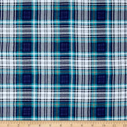 Fabric Merchants T-Shirt Jersey Knit Plaid Blue/White Fabric
