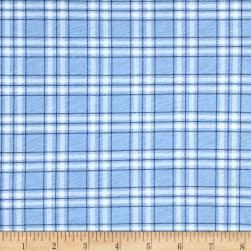 T-Shirt Jersey Knit Plaid Baby Blue Fabric