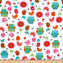 Fabric Merchants Cotton Jersey Knit Owls and Birds
