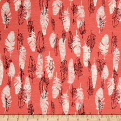 Fabric Merchants Cotton Jersey Knit Feathers on Coral