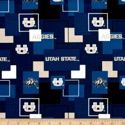 Collegiate Broadcloth University of Utah State Block Print