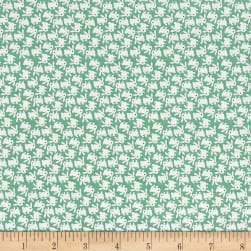 Nana Mae 1930's White Bunnies On Green Fabric