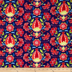 Alex Anderson Mirage Pomegranate Estate Blue Fabric