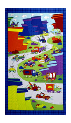 Monster Trucks On The Road 24.5'' Panel Zaffre Blue Fabric