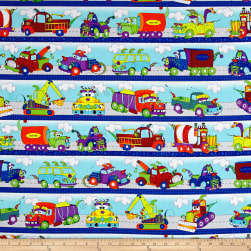 Monster Trucks Road Runner Stripe Blue Fabric