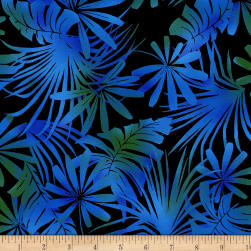 Jinny Beyer Burano Palm Leaf Blue Fabric