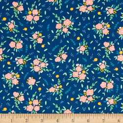 Dear Stella Fresh Dew Blooming Bouquet Navy Fabric