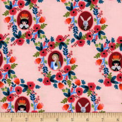 Cotton + Steel Rifle Paper Co. Wonderland Cameos Rose Fabric