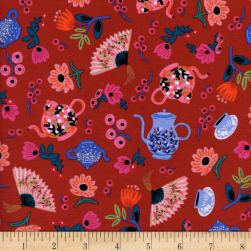 Cotton + Steel Rifle Paper Co. Wonderland Garden Party Crimson